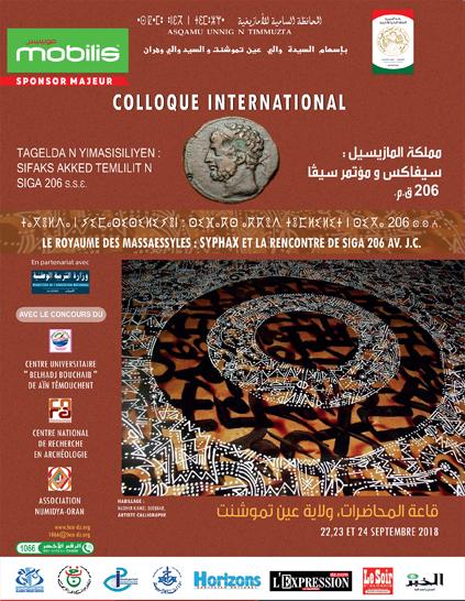 Programme du colloque international sur le roi Syphax du 22 au 24 septembre 2018 à Ain Temouchent